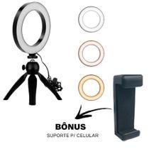 Ring Light Luz De Led 16CM Com Tripé De Mesa 6 Polegadas USB - Diafilm