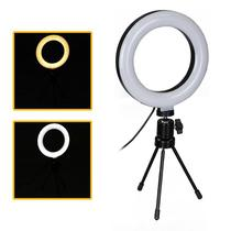 Ring Light Portátil Iluminador Led 16cm 3500k 5500k + Mini Tripé - Tudoprafoto