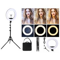 "Ring Light Professional 18"" / 46cm com 460 leds tripé até 1,90  bivolt - Star Ligth"