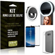 Ring Luz de Selfie Samsung Galaxy S8 Plus Flash Ring + Capa Silicone + Película Vidro - Armyshield -