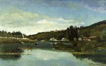 Rio Marne em Chennevières - Camille Pissarro - Tela 60x96 Para Quadro - Santhatela