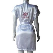 Robe de Cetim Feminino Roupão Kimono Branco Bordado Personalizado Noiva com Coroa Pink - Superintima