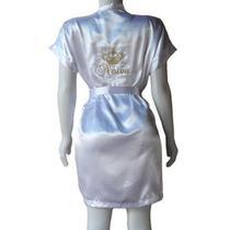 Robe de Cetim Feminino Roupão Kimono Branco Bordado Personalizado Noiva com Coroa - Superintima