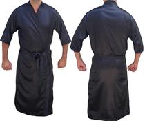 Robe de Cetim Masculino Kimono Manga 3/4 Noivo Roupão Lingerie Cor Preto - Superintima