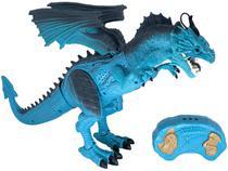 Robô com Movimento Dragão de Gelo - Criaturas RC Azul Emite Som Candide