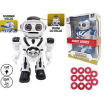 Robo educativo infantil space warrior lanca discos led musical com luz - Gimp