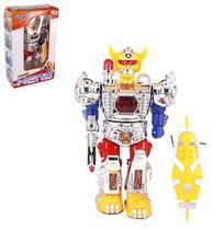 Robo mega hero com som e luz + acessorio a pilha na caixa wellkids - Wellmix