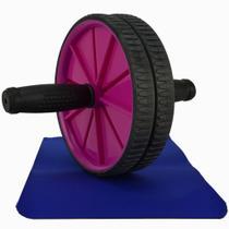 Roda para Exercícios Abdominais com Tapete Rosa CBRN14637 - Commerce Brasil