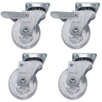 Rodizio Gel 50mm Roda Giratoria Pu Silicone Rodinha Vaso moveis kit com 4un (2SF e 2CF) - Schioppa