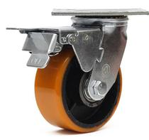 Rodizio giratorio com  base freio total roda amarela  5 polegadas - Ajax