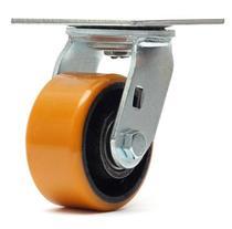 Rodizio giratorio com  base roda amarela  4 polegadas - Ajax