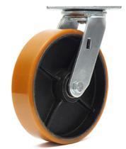 Rodizio giratorio com  base roda amarela  8 polegadas - Ajax