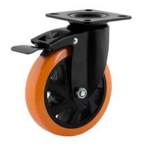 Rodizio giratório com freio polipropileno / poliuretano serie 414 preto/amarelo 4 polegadas Colson -