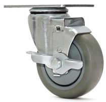 Rodizio giratorio freio  simples termoplastica roda c/ rolamento 4 - Ajax