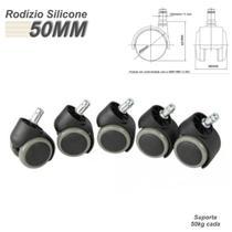 Rodizio Kit Com 5 Rodinhas De PU 11mm Anti-Risco e Anti-Ruído Para Cadeiras - Scm