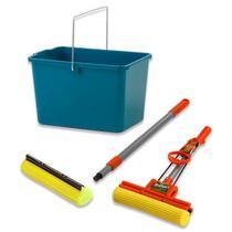 Rodo Mágico Brilhus c/ 1 refil e Balde Retangular - Vendasshop utensilios de limpeza