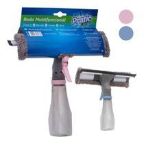 Rodo magico spray 3 em 1 limpa vidros janelas borrifador lava limpa e seca em microfibra multifuncional - Paramount