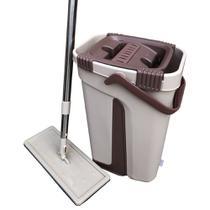 Rodo Mop Flat e Balde Para Limpeza De Piso Esfregão Multiuso Lava Seca Vertical + 1 Refil Extra - Gorillaz