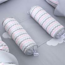 Rolinho Segura Bebê Chuva de Amor Chevron Rosa com Cinza - Talismã