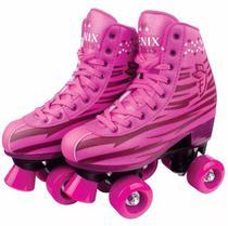 Roller Patins Infantil e Adulto Feminino 4 Rodas Clássico Rosa - Fenix