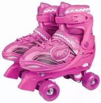 Roller Patins Infantil Feminino 4 Rodas Clássico Com Led - Fenix