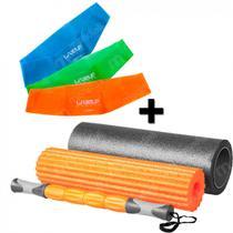 Rolo de Pilates 3 em 1 Fit Roll Foam + 3 Mini Band Tensao Leve + Media + Forte  Liveup -
