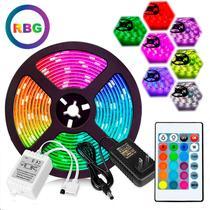 Rolo Fita Led Rgb 5m 5050 Colorido Kit Com Controle e Fonte - As Emporio