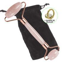 Rolo Massageador Facial Anti Estresse Quartzo Rosa + Suporte Celular CBRN15641 - Commerce Brasil