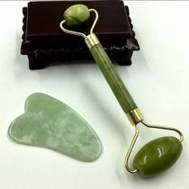 Rolo Massageador Pedra Jade Verde + Placa Gua Sha Massagem Facial - MLS