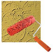 Rolo Textura Roma Borracha Rosas 18cm Com Cabo   8 0418 -