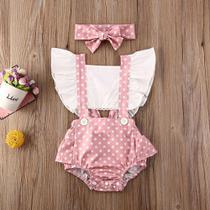Romper jardineira+faixa bebê menina rosê poá lc0047 - le catito baby