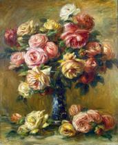 Rosas em um Vaso (1919) - Pierre-Auguste Renoir - Tela 50x61 Para Quadro - Santhatela