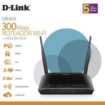 Roteador Wifi 300MBPS com 2 Antenas 5DBI DIR615 Preto D-LINK -