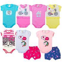 Roupa Bebê Menina Infantil Kit 5 Conjuntos Verão P ao 3 Anos - Roupas Mania