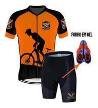 Roupa Conjunto Bike Ciclismo Camisa Bretelle Ou Bermuda Gel - Vikings