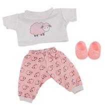 Roupa de Boneca Baby Alive - Pijama Carneiro  - Laço de Fita -