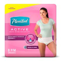 Roupa Íntima Plenitud Active Mulher P/M Com 8 Unidades -