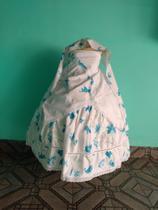 Roupa para candomblé Umbanda - Branco e Azul Floral - Ateliê Ikaro Diniz