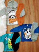 Roupa para Menino kit 3 Conjuntos de Moletom Bebê Infantil Inverno 1/2/3 Calça+Casaco - Jidi Kids