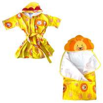 Roupão de Banho + Toalha de Banho Com Capuz Infantil 0-3 Anos Menino Manga Curta Algodão Kit Colorida Estampada - Baby Joy