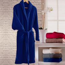 Roupão Microfibra Adulto Kimono Home Design Marinho - CORTTEX