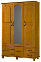 Roupeiro 3 Portas  4 Gavetas Com Espelho Esmeralda De Madeira Maciça Pinus