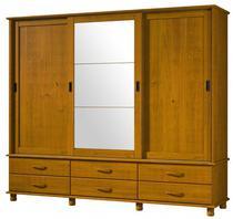 Roupeiro 3 Portas De Correr 6 Gavetas Com Espelho Esmeralda De Madeira Maciça Pinus - Finestra