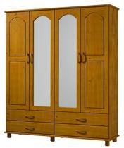 Roupeiro 4 Portas 4 Gavetas Com Espelho Esmeralda De Madeira Maciça Pinus - Finestra