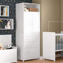 Roupeiro Infantil 2 Portas com 4 Gavetas Cookie - Branco - Multimóveis