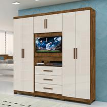 Roupeiro Multifuncional 06 Portas 03 Gavetas Com Painel Para Tv De 32 Dubai - Moval