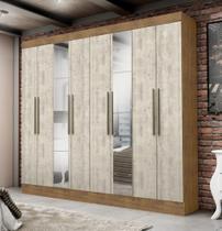 Roupeiro Nova York 8 Portas Com Espelho Ipê/Tex Vanilla - Maxel -