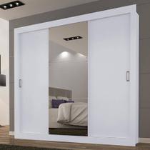 Roupeiro Smart 3 Portas de Correr Branco Com Espelho Grande - Maxel