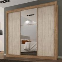 Roupeiro Smart 3 Portas de Correr Ipê Com Espelho Grande - Maxel