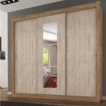 Roupeiro Smart 3 Portas de Correr Ipê Flex Com Espelho Pequeno - Maxel